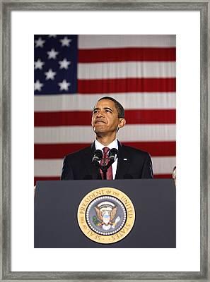 Barack Obama With American Flag Framed Print