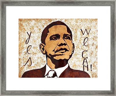 Barack Obama Words Of Wisdom Coffee Painting Framed Print by Georgeta  Blanaru