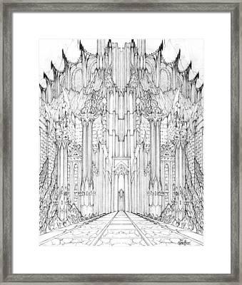 Barad-dur Gate Study Framed Print by Curtiss Shaffer