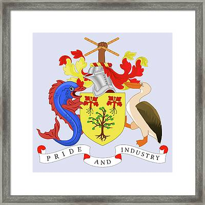 Framed Print featuring the drawing Barbados Coat Of Arms by Movie Poster Prints