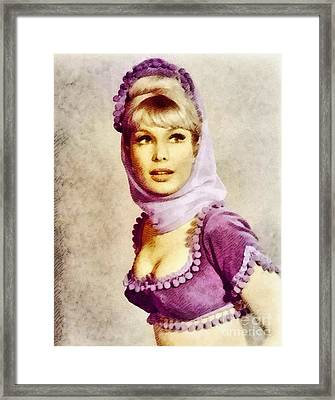 Barbara Eden, Vintage Actress By John Springfield Framed Print by John Springfield