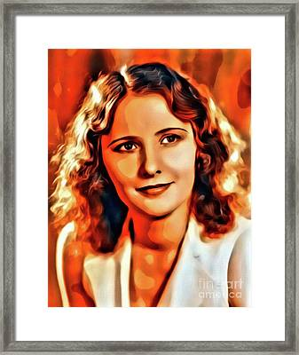 Barbara Stanwyck, Vintage Hollywood Legend. Digital Art By Mary Bassett Framed Print