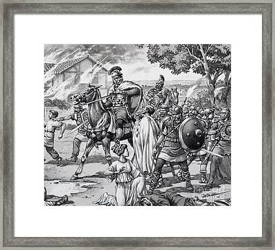 Barbarian Attack On The Romano British Framed Print by Pat Nicolle