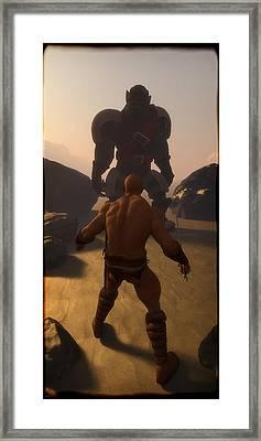 Barbarian Versus Orc... Framed Print by Tim Fillingim