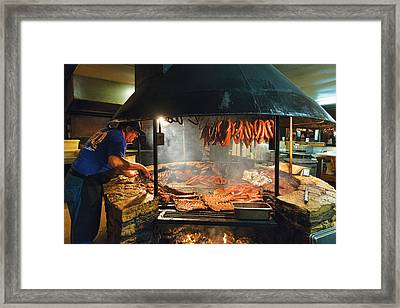 Barbecue Pit In A Restaurant In Dripping Springs Framed Print by Carol M Highsmith