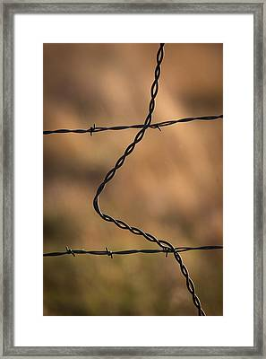 Barbed And Bent Fence Framed Print by Monte Stevens