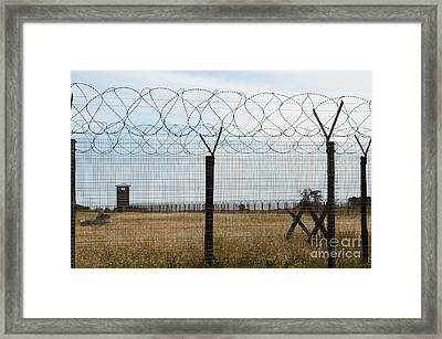 Barbed Wire Fence At Robben Island Framed Print by Rex Wholster