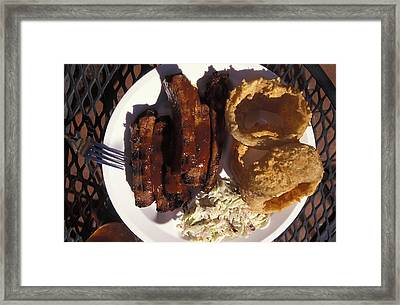 Barbeque Ribs Dinner At Sonny Bryans Framed Print by Richard Nowitz