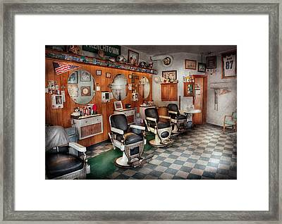 Barber - Frenchtown Barbers  Framed Print by Mike Savad