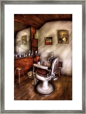 Barber - In The Barber Shop  Framed Print by Mike Savad