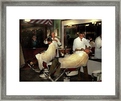 Framed Print featuring the photograph Barber - A Time Honored Tradition 1941 by Mike Savad