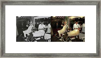 Framed Print featuring the photograph Barber - A Time Honored Tradition 1941 - Side By Side by Mike Savad