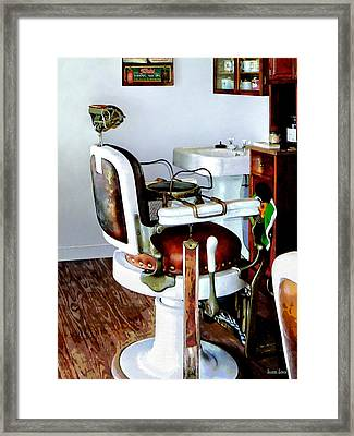 Barber Chair Framed Print by Susan Savad