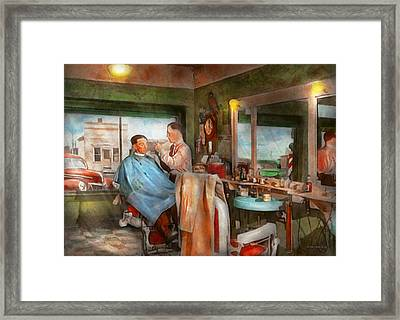 Barber - Getting A Trim 1942 Framed Print by Mike Savad