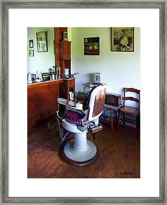 Barber - Old-fashioned Barber Chair Framed Print by Susan Savad