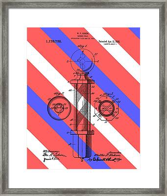 Barber Pole Patent Framed Print by Dan Sproul