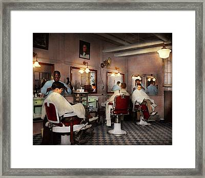 Framed Print featuring the photograph Barber - Senators-only Barbershop 1937 by Mike Savad