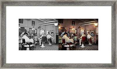 Framed Print featuring the photograph Barber - Senators-only Barbershop 1937 - Side By Side by Mike Savad