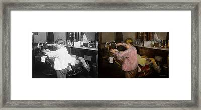 Barber - Shaving - Faith In A Child - 1917 - Side By Side Framed Print