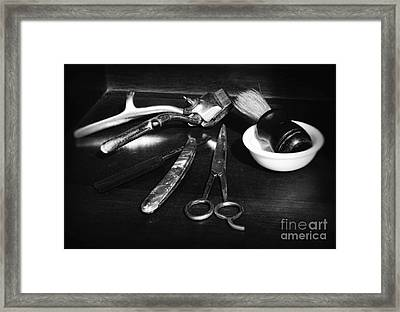Barber - Things In A Barber Shop - Black And White Framed Print