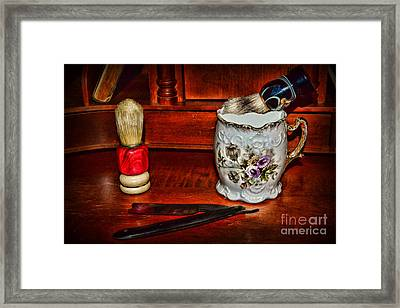 Barber Time For A Shave Framed Print by Paul Ward