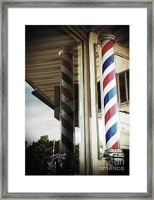 Barbershop Pole Framed Print