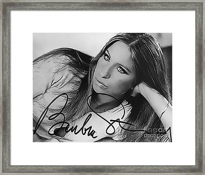 Barbra Streisand Art With Autographed Signature Framed Print by John Malone