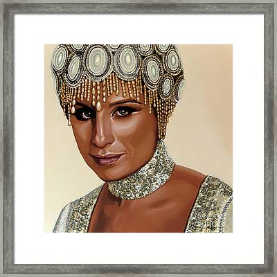 Barbra Streisand Painting Framed Print by Paul Meijering