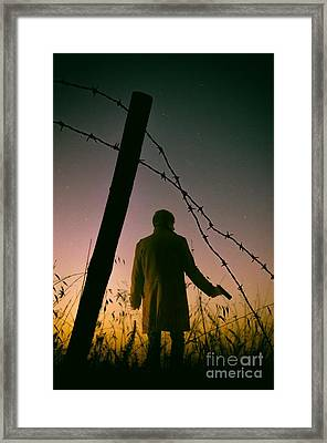 Barbwire Trespassing Framed Print by Carlos Caetano
