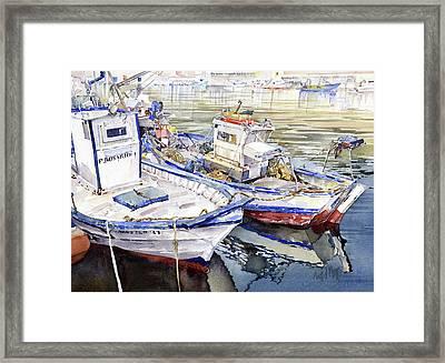Barcas En El Puerto Almeria Framed Print by Margaret Merry