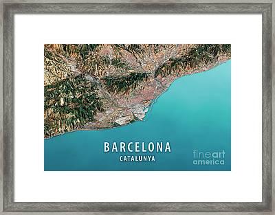 Barcelona 3d Render Satellite View Topographic Map Horizontal Framed Print