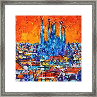 Barcelona Abstract Cityscape 7 - Sagrada Familia Framed Print