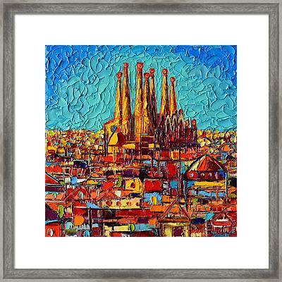 Barcelona Abstract Cityscape - Sagrada Familia Framed Print