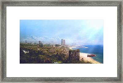 Barcelona Aftermath La Barceloneta Framed Print
