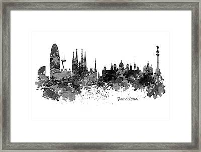 Barcelona Black And White Watercolor Skyline Framed Print