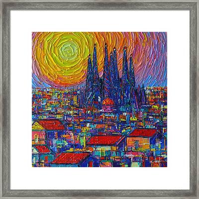 Barcelona Colorful Sunset Over Sagrada Familia Abstract City Knife Oil Painting Ana Maria Edulescu Framed Print
