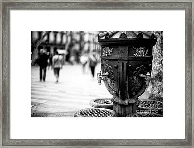 Barcelona Drinking Fountain Framed Print by John Rizzuto