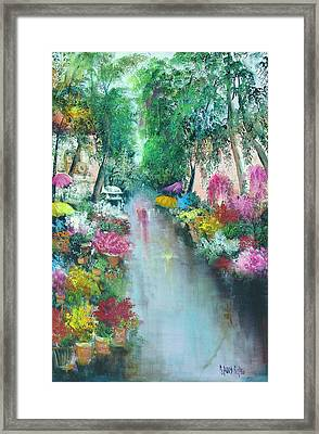 Barcelona Flower Market Framed Print by Sally Seago