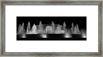 Framed Print featuring the photograph Barcelona Fountain Nightlights by Farol Tomson