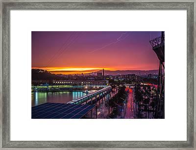 Barcelona Lightning Storm Framed Print by Ryan McKee