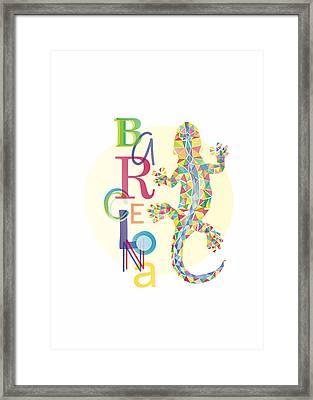 Barcelona Lizard Framed Print by Julia Jasiczak
