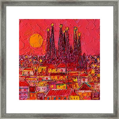 Barcelona Moon Over Sagrada Familia - Palette Knife Oil Painting By Ana Maria Edulescu Framed Print
