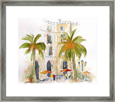 Barcelona Plaza Framed Print by Pat Katz