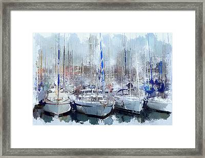 Barcelona Port Boats Framed Print