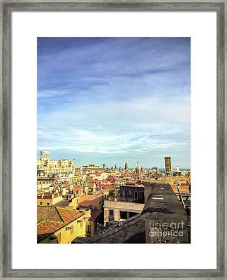 Framed Print featuring the photograph Barcelona Rooftops by Colleen Kammerer