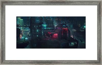 Barcelona Smoke And Neons Eixample Framed Print by Guillem H Pongiluppi