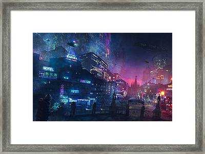Barcelona Smoke And Neons Sant Pau I La Sagrada Familia Framed Print by Guillem H Pongiluppi
