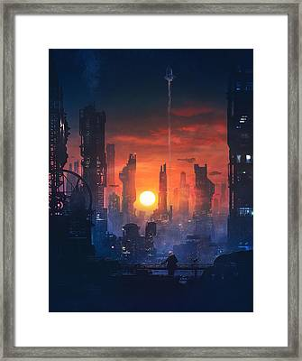 Barcelona Smoke And Neons The End Framed Print by Guillem H Pongiluppi