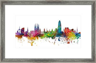 Barcelona Spain Skyline Panoramic Framed Print by Michael Tompsett