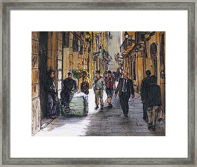 Barcelona Street Sketch Framed Print by Randy Sprout